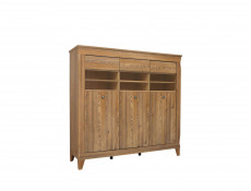 Traditional Wide Glass Display Cabinet Sideboard Oak finish - Bergen (S359-REG3W-MSZ-KPL01)