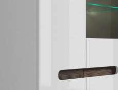 White Gloss Glass Display Cabinet Sideboard LED Lights Unit with White/Wenge/Black Gloss insert - Azteca Trio