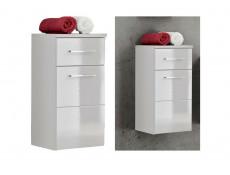 Modern Wall Hung Base Cabinet with Drawer Bathroom Storage Unit White Matt/White Gloss - Twist (TWIST_810_WHITE)