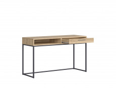 Industrial Laptop Oak finish Desk Table with Drawer for Home Office Study Metal Legs Loft Style - Gamla