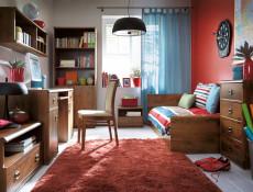 Modern Wide 80cm Chest of Drawers Storage Unit 4 Drawers Bedroom Furniture in Dark Oak Effect Finish - Indiana (S31-JKOM4s/80-DSU-KPL01)