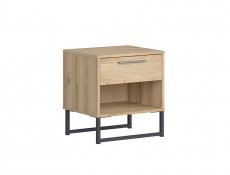 Industrial Bedside Cabinet Side Table Drawer Metal Frame Light Oak - Gamla