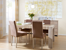 Modern Fabric Dining Chair in Oak - Kaspian