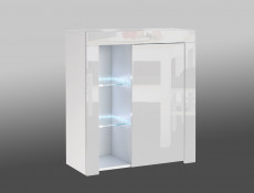 Small White High Gloss Storage Bookcase Modern 1 Door Display Cabinet Unit with Glass Shelving and RGB Colour Changing LED Lights - Lily (HOF-LILY-1D_BI-BIP-KP01+RGB-CLIP(2))