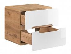 Modern 600 Bathroom Vanity Unit White Gloss/Oak 60cm Countertop Wall Cabinet Drawer Unit  - Aruba