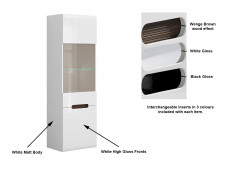 White Gloss Tall Glass Display Cabinet LED Lights Unit with White/Wenge/Black Gloss insert - Azteca Trio