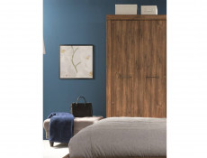 Modern 98cm Bedroom Double 2 Door Freestanding Wardrobe with Shelf and Rail Medium Oak Effect - Gent (S228-SZF2D/20/10-DAST-KPL01)