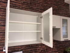White/Light Grey Kitchen Wall Cabinet with Glass Doors 80cm Cupboard Unit - Paula (STO-PAULA-WS80-GR/WHITE-KP01)