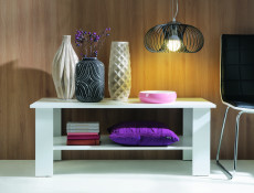 Modern Coffee Table Rectangular with Shelf White or Sonoma Oak Finish- Nepo