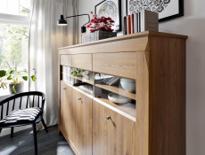 Traditional Wide Glass Display Cabinet Sideboard Oak finish - Bergen