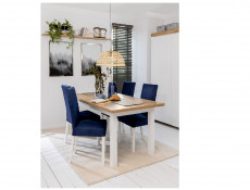 Scandinavian Dining Room Extending Dining Table 160-200cm White/Oak finish - Holten (D09027-TXS_STO_HOLTEN-DWO/BAL-KPL01)