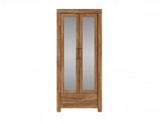 Modern Tall Mirrored Storage Shelf Cabinet Shelving Unit with 2 Doors and 1 Drawer in Medium Oak Effect  - Gent (M244-REG2L1S/20/9-DAST-KPL02)
