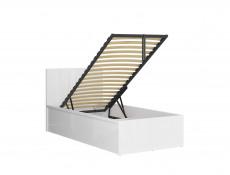 Modern Sturdy Ottoman Single Bed Frame Gas Lift Up Storage White Gloss - Tetrix
