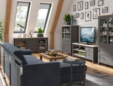 Modern TV Cabinet Media Storage Unit with Drawers Country Grey / Oak Effect - Bocage
