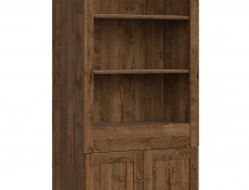 Classic Living Room 2-Door Bookcase Cabinet Storage Unit Dark Oak - Patras