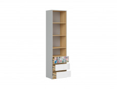 Modern Tall Storage Cabinet Shelves 3 Drawer Kids Bedroom Comic Emoji Insert White Gloss/Grey/Oak - Nandu