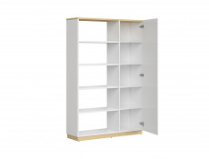 Modern Large Open Bookcase Shelving Storage Unit 180 cm Room Divider White Gloss/Oak Finish – Denton