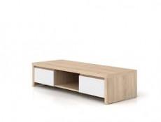 Wide TV Stand Cabinet Sonoma Oak White Gloss - Kaspian