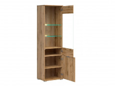 Modern  Oak effect Tall Glass Fronted 1 Door Display Cabinet Unit with LED Lights - Zele
