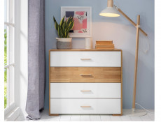 Large Chest of 4 Drawers White Gloss and Oak - Bari (KOM4S)