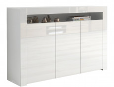 Large White High Gloss Sideboard Modern 3 Door Unit with Display Cabinet Shelf - Lily