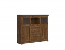 Classic 2-Door Display Sideboard Dresser Cabinet Storage Unit LED Dark Oak - Patras