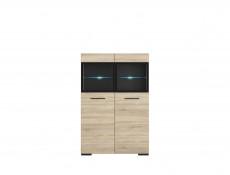 Modern Large Glass Display Cabinet with LED Lights Storage Unit 100cm Sonoma Oak - Fever (S182-SFK2W/15/10-DSO/CA-KPL01)