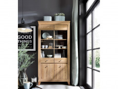 Bergen - Wide Tall Glass Fronted Display Cabinet + LED Light  (REG2W2D)