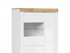 Scandinavian Glass Door Display Cabinet Storage Unit LED Lights White Gloss/Oak - Holten