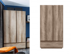 Modern Freestanding Bedroom Double 2-Door Wardrobe with Shelves Rail Drawer Soft Closing Oak - Anticca