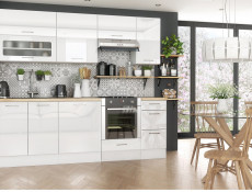 Modern White High Gloss Kitchen Cabinets Cupboards Set of 8 Units with Oven Housing 240cm - Rosi