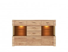Large Glass Sideboard Dresser Display Cabinet LED Lighting - Raflo