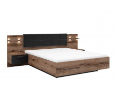 Elegant King Size Bed Frame Built-in Bedside Wall Cabinets USB LED Underbed Storage Lighting Oak/Black - Kassel
