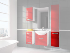 Wall Mounted Bathroom Cabinet 1 Door Unit Red High Gloss without worktop - Coral