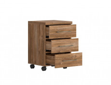 Modern Oak finish Home Office Furniture Set with Desk Mobile Drawers Pedestal Storage Chest Tallboy - Gent