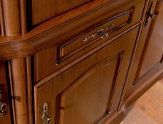 Glass Dresser Cabinet Top Unit Classic Style Traditional Living Room Furniture Cherry Finish - Natalia