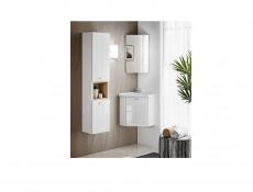 Nowoczesny narożny wiszący zestaw mebli łazienkowych biały połysk z umywalką 40 cm szerokość - Finka