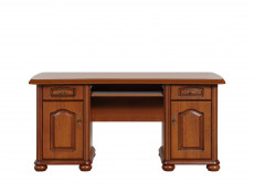 Large Home Office Computer Desk in Cherry Wooden Effect - Natalia