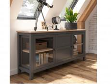 Modern Large Sideboard Glass Lowboard Display Cabinet Storage Unit Country Grey / Oak Effect - Bocage  (S503-KOM2W1D/9/19-GF/DSAJ-KPL01)