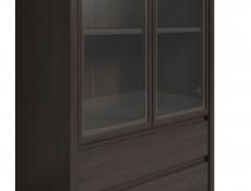 Modern Wide Glass Display Cabinet Tall Dresser in Wenge Dark Brown - Kaspian (S128-REG2W2S-WE-KPL01)