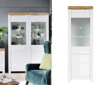 Scandinavian Tall Glass Door Display Cabinet Storage Unit LED Lights White Gloss/Oak - Holten