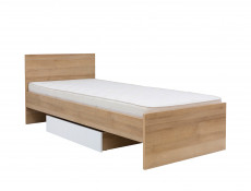 Underbed Storage Drawer for Single Bed Frame White Gloss & Oak finish - Balder