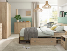 Sideboard Dresser Cabinet Modern Living Room Storage Drawers Unit in Sonoma Oak Effect Finish - Nepo