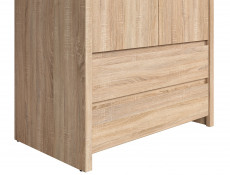 Two Door Wardrobe Light Wood Sonoma Oak with Drawers - Kaspian (S128-SZF2D2S-DSO/DSO-KPL01)