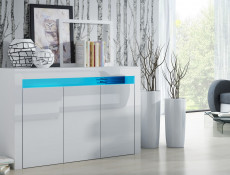 White High Gloss Sideboard Modern Unit Display Cabinet with blue LED Light – Cheri