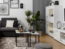 Modern 97cm Wide Compact Glass Display Storage Cabinet Two White Gloss Doors Seven Shelves LED Lighting - Flames (S428-REG1D1W-BIP-KPL01 & LED)