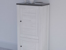 Tall Cabinet Shabby Chic Scandinavian Style White Wash finish - Antwerpen
