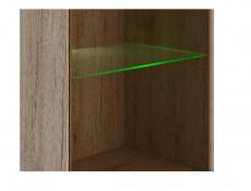 Slim Tall Two Door Glass Display Cabinet Unit with LED Lights in Light Oak Effect Finish - Elpasso (S314-REG1W1D-DSAJ/DWB-KPL01+LED)
