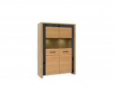 Living Room Furniture Set with Display Cabinets, TV & Wall Unit in Wall Oak Veneer Black Gloss Finish - Arosa (AROSA-LIVING-SET1)