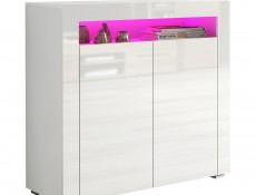 Small Sideboard Display Cabinet White High Gloss with RGB LED Light - Lily